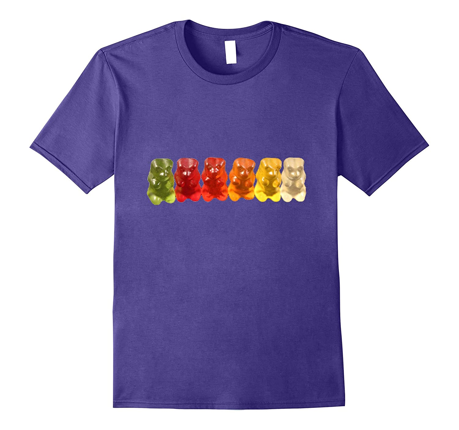 Gummy Bear Shaped Candy T-Shirt Rainbow Colors-TD