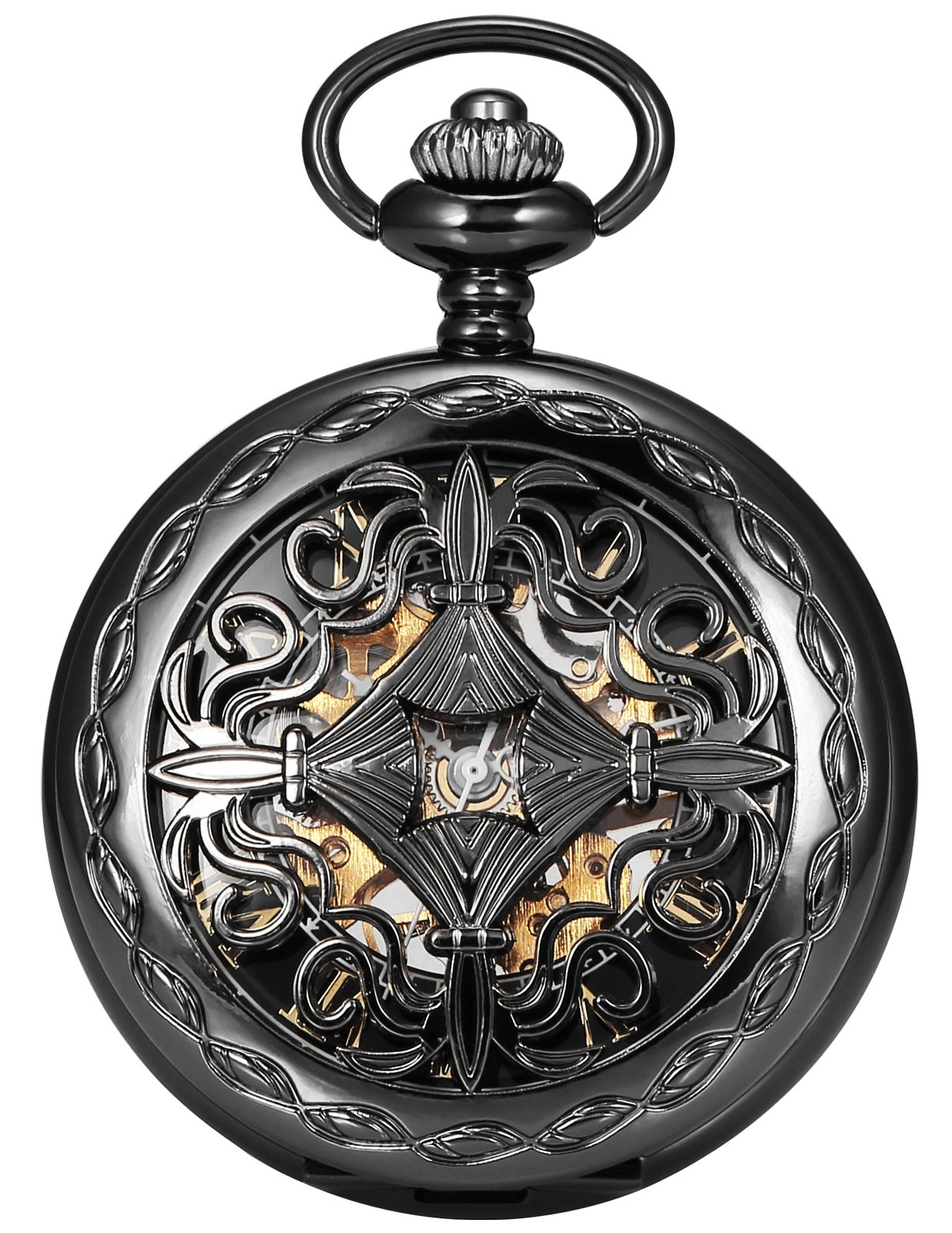 AMPM24 Steampunk Black Copper Case Skeleton Mechanical Pocket Watch Fob WPK167 3