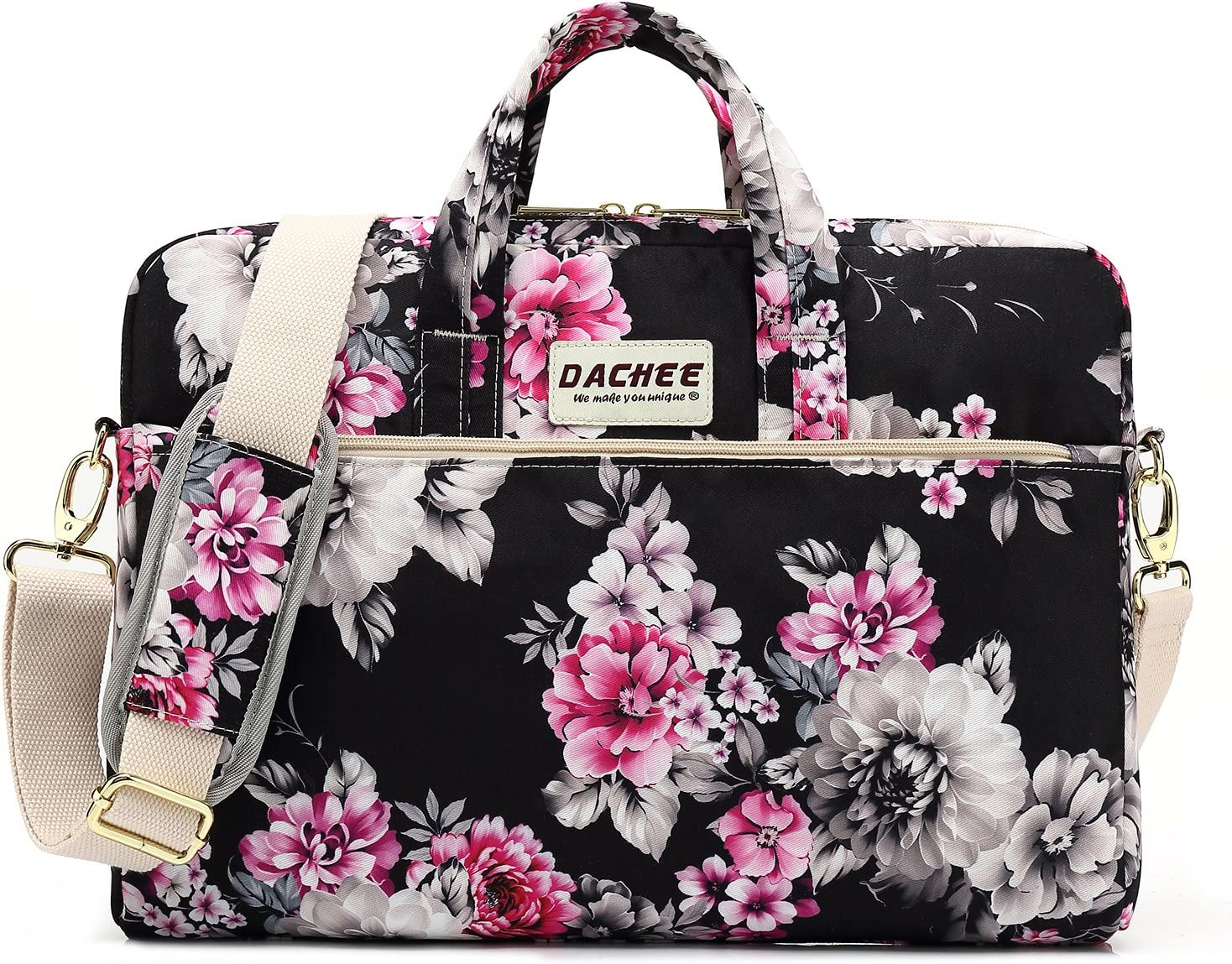 DACHEE Black Chrysanthemum Pattern Waterproof Laptop Shoulder Messenger Bag Case Sleeve for 12 inch 13 inch Laptop and 11/12/13.3 inch