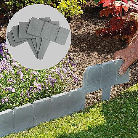 5m Grey Stone Effect Lawn Edging Plant Bordering Cobblestone