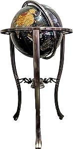 Limited Edition! Unique Art Since 1996 Black Pearl Swirl Floor Standing Gemstone World Globe with Tripod Floor Silver Zinc Alloy Stand (Floorstanding)