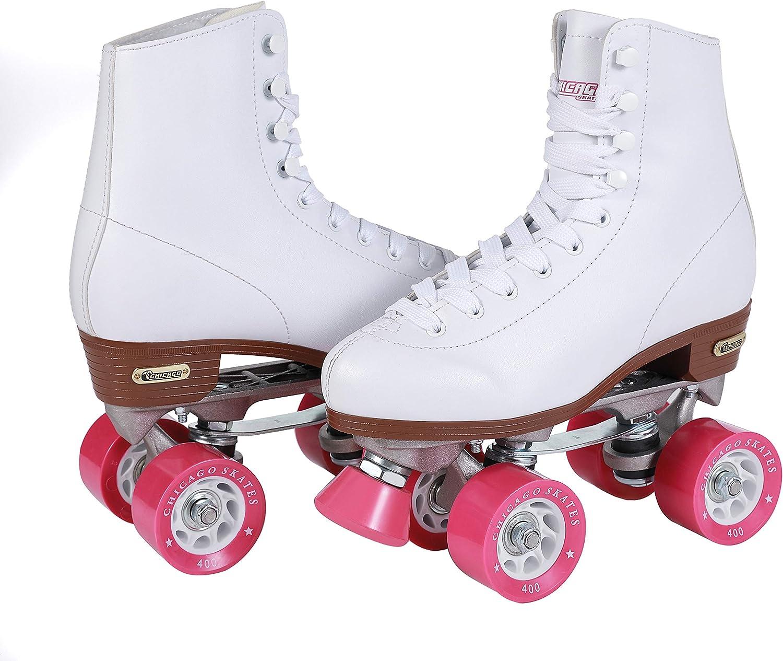 Details about  /Chicago Women/'s Classic Roller Skates Premium White Quad Rink Skates Size 8 US