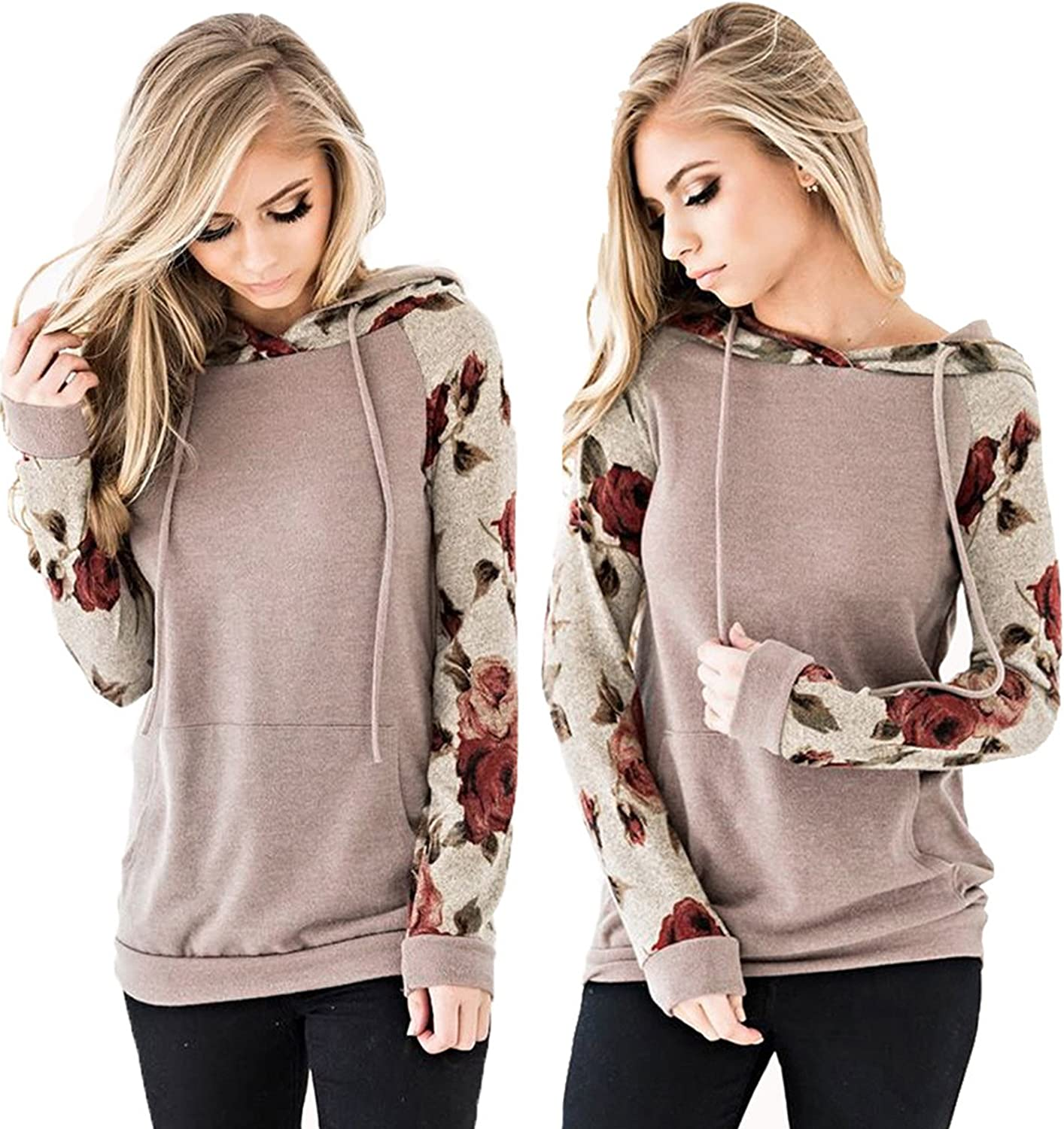 Angashion Womens Floral Printed Long Sleeve Pullover Hoodies Sweatshirt with Pocket
