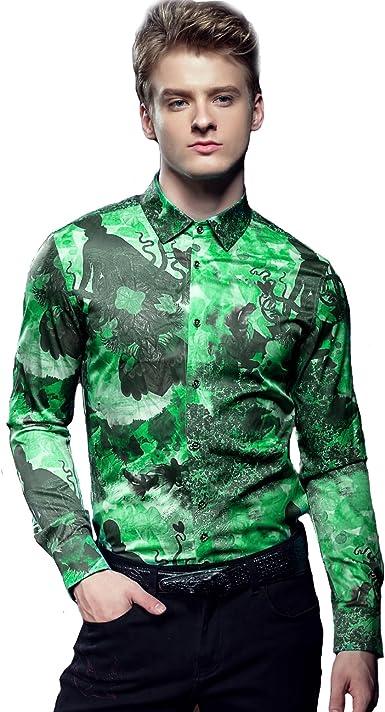 FANZHUAN Camisa De Hombre Manga Larga Fashion Estampada Flores Slim Fit Non Iron
