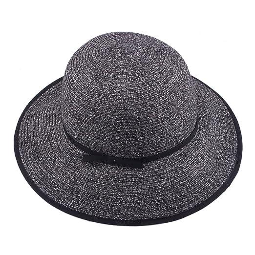 Straw Hat Womens Summer Sun Beach Hat UPF 50+ Travel Package Floppy Caps  (9216 11240e19d03