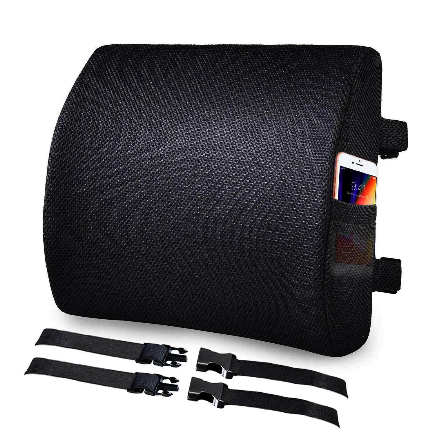 VECELO Memory Foam Lumbar Support Back Cushion Pillow, Ergonomically Designed to reduce Back pain Cushion for Office Chair/Car Seat, with Dual Adjustable Straps