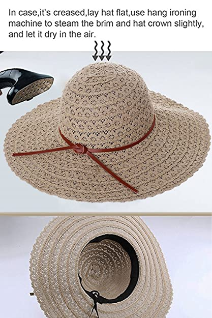 949652c943c Amazon.com  Zuozee Sun Hats for Women Summer Beach Hat Foldable Floppy Straw  Hat Wide Brim Packable UV Hats  Sports   Outdoors