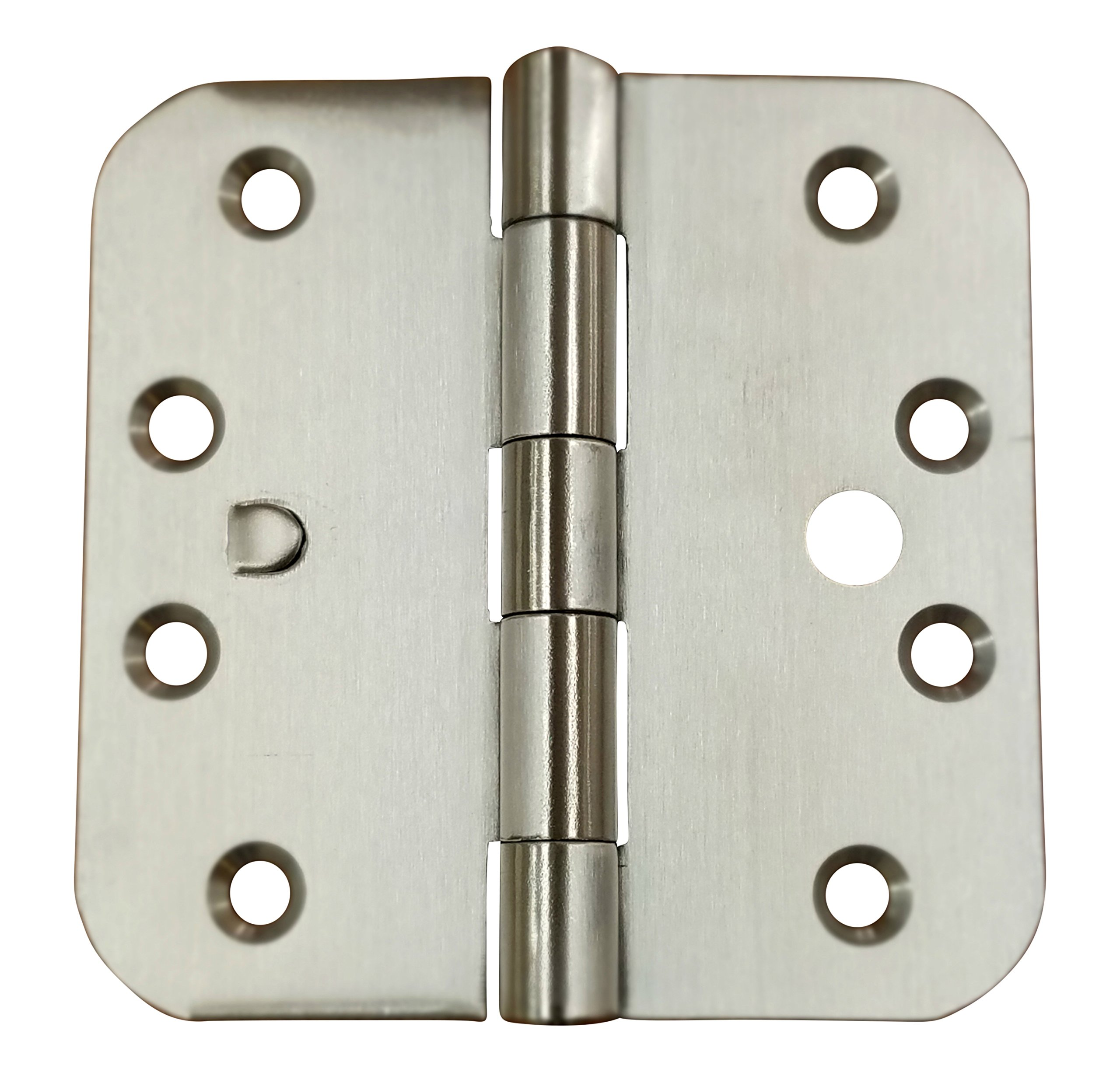 Security Door Hinges - Stainless Steel - 4'' x 4'' with 5/8'' Radius - Security Tab - Arch Hole Pattern - 2 Pack