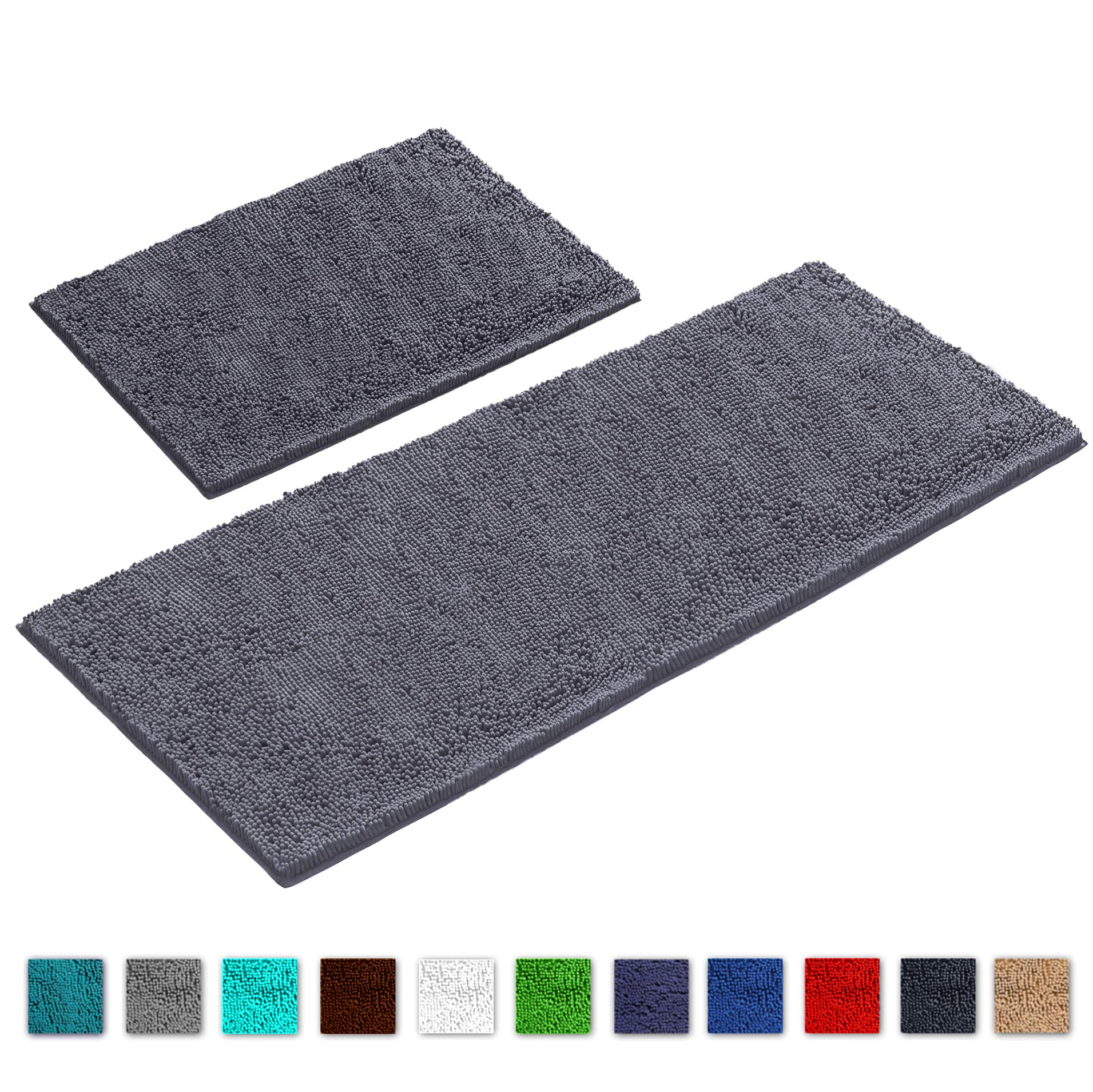 LuxUrux Bathroom Rug Mat Set-Extra-Soft Plush Bath Shower Bathroom Rug,1'' Chenille Microfiber Material, Super Absorbent. Machine Wash & Dry (Rectangular Runner Set, Dark Gray)