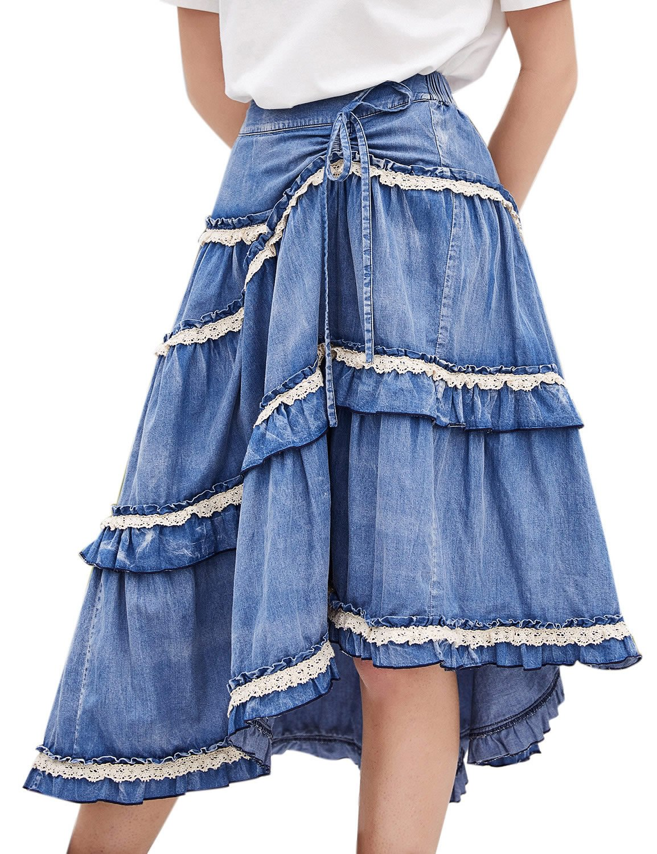 e9e4cf6ec9 Artka Women's High Waist Pleated Layered Petite Midi Denim Skirt ...