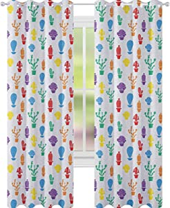 """YUAZHOQI Cactus Curtains for Living Room Colorful Plant Silhouettes Cartoon Style Drawing Blossoming Nature Prickly Foliage Decor Curtains 52"""" x 95"""" Multicolor"""