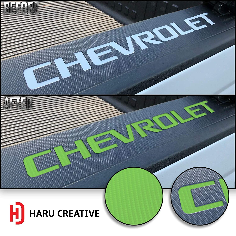 4D Carbon Fiber Red Loyo Rear Trunk Tailgate Bed Rail Cap Letter Insert Overlay Vinyl Decal Sticker Compatible Chevy Chevrolet Silverado 2014-2018 Haru Creative