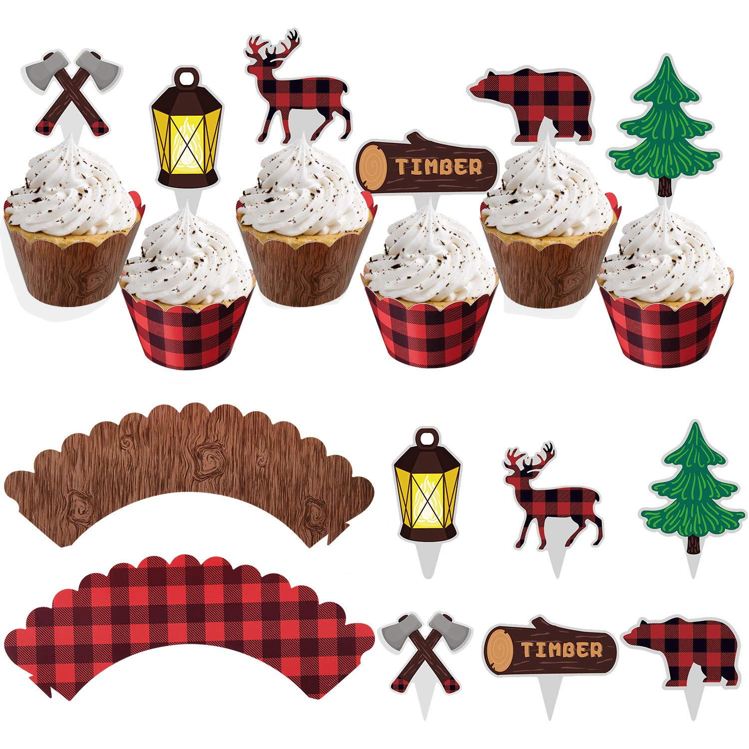 48Pcs Lumberjack Cupcake Toppers & Wood Grain Buffalo Plaid Wrappers, Perfect for Campfire Party Supplies, Lumberjack Theme Birthday Decor, Woodland Baby Shower Decorations, Rustic Woodsy Wedding