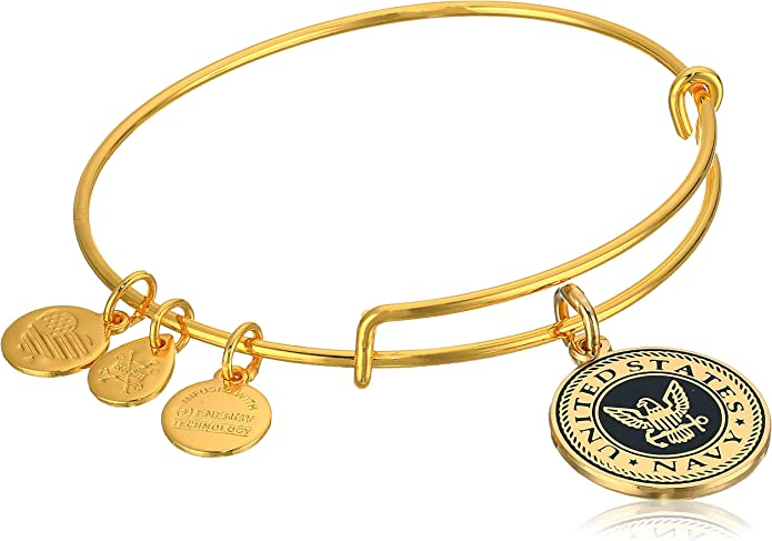 Details about  /$32 Retired Authentic Alex and Ani U.S Navy  Russian Gold Charm Bangle