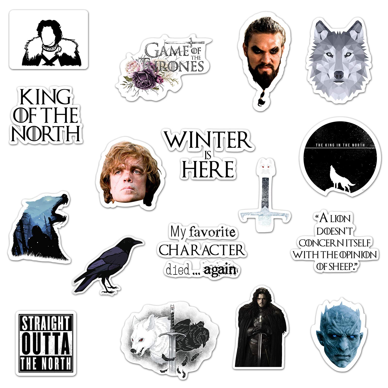 (17 Pack) Game of Thrones Laptop Stickers for Adults, Game of Thrones Merchandise and Gifts, Redbubble Stickers for Teens - Laptop Decals & Stickers for Water Bottles, Hydro Flask Stickers