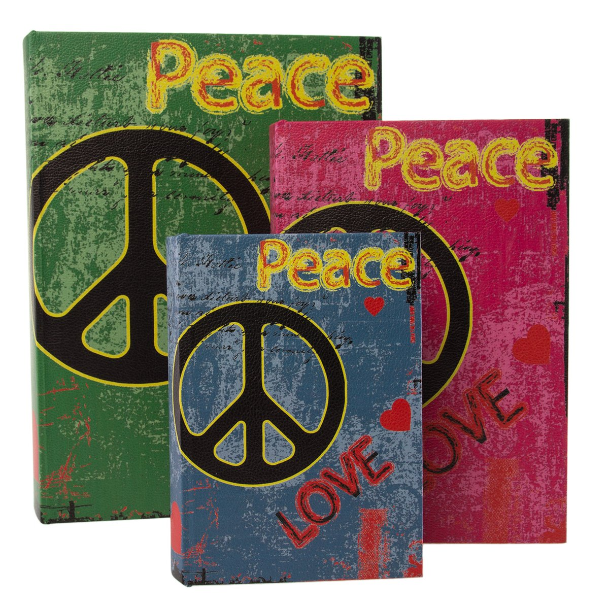 Cheungs Rattan FP-3532-3A Set of 3 Book Box with Wild Colors, Peace and Love printed on vinyl - Green, Pink, Blue, Yellow, Black, red