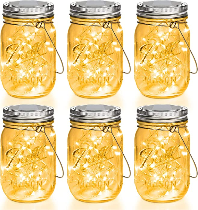 Mason Jar Solar Lights 30 LEDs, 6 Pack Hanging Solar Lights Outdoor, Waterproof Fairy Lights Solar Lanterns for Patio Garden, Hangers and Jars Included- Warm White