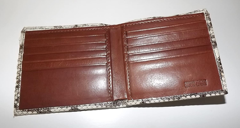 Baglioni Italia Mens Python Snakeskin Bifold 10 Pocket Wallet Natural//Brown