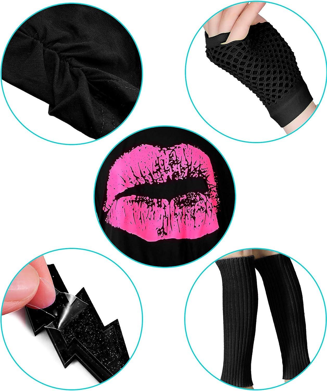 Purple, XS Blulu 80 Jahre Kost/üm Zubeh/ör f/ür Damen Set T-Shirt Lippenprint Erwachsener Tutu Rock Spitzen Stirnband Neon Ohrringe Halskette Beinlinge Netz Handschuhe Armband