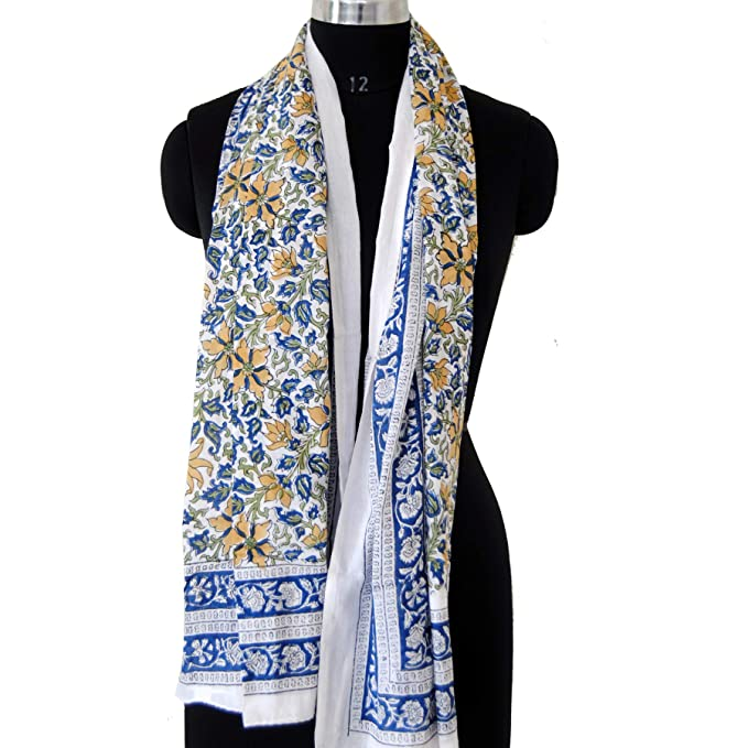1912dc7211d8f Image Unavailable. Image not available for. Color: Blue Multi Color Indian  Hand Block Printed Cotton Scarves neck Wraps Beach ...