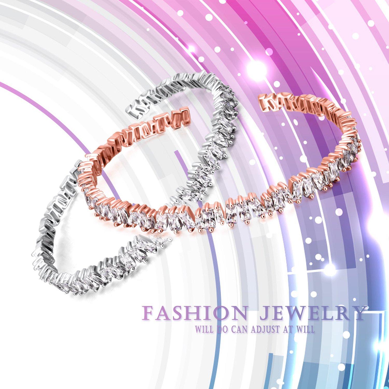 Winnicaca Cubic Zirconia Bracelets Women Cuff Adjustable Tennis