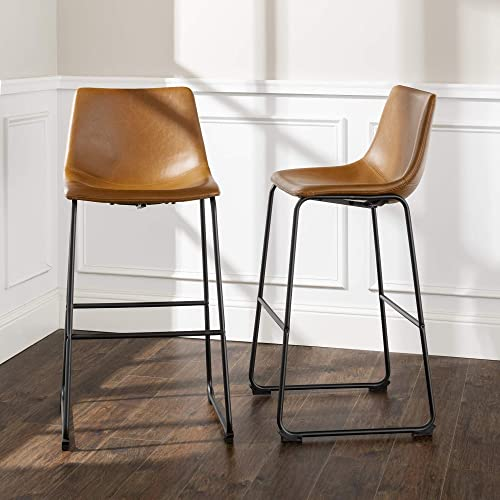 Walker Edison Furniture Company 30 Industrial Faux Leather Armless Indoor Kitchen Dining Chair Barstool with Metal Legs Upholstered, Set Of 2, Whiskey Brown