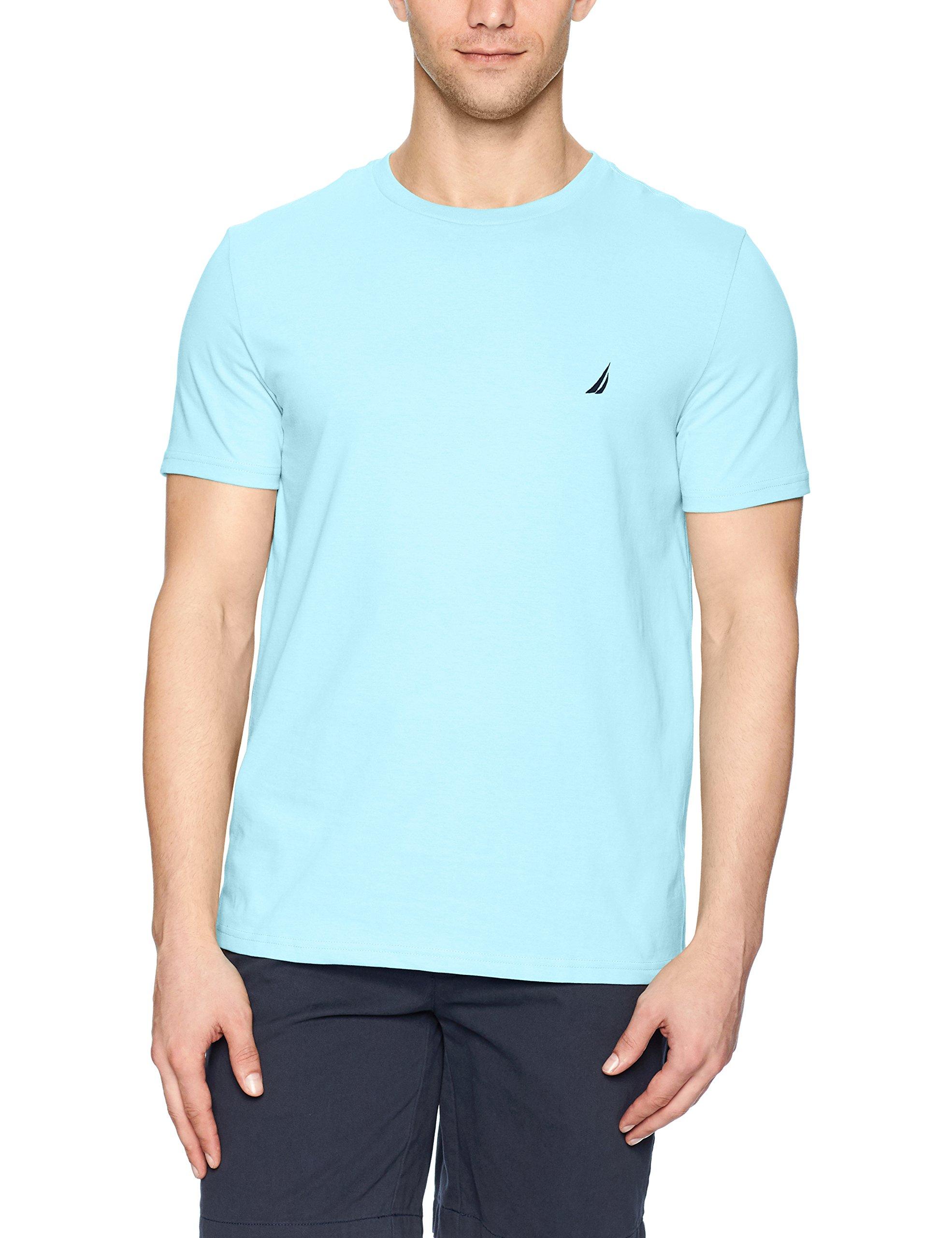 Nautica Men's Short Sleeve Solid Crew Neck T-Shirt, Bright Aqua Solid, X-Large