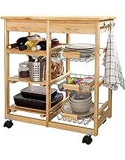 SoBuy Carrito de servir, carrito de cocina, carrito con cajón, L67 x P37