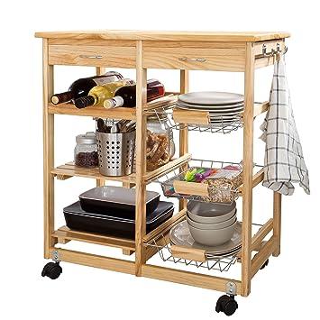 SoBuy FKW04-N - Carrello da cucina in legno massello con ripiani e ...