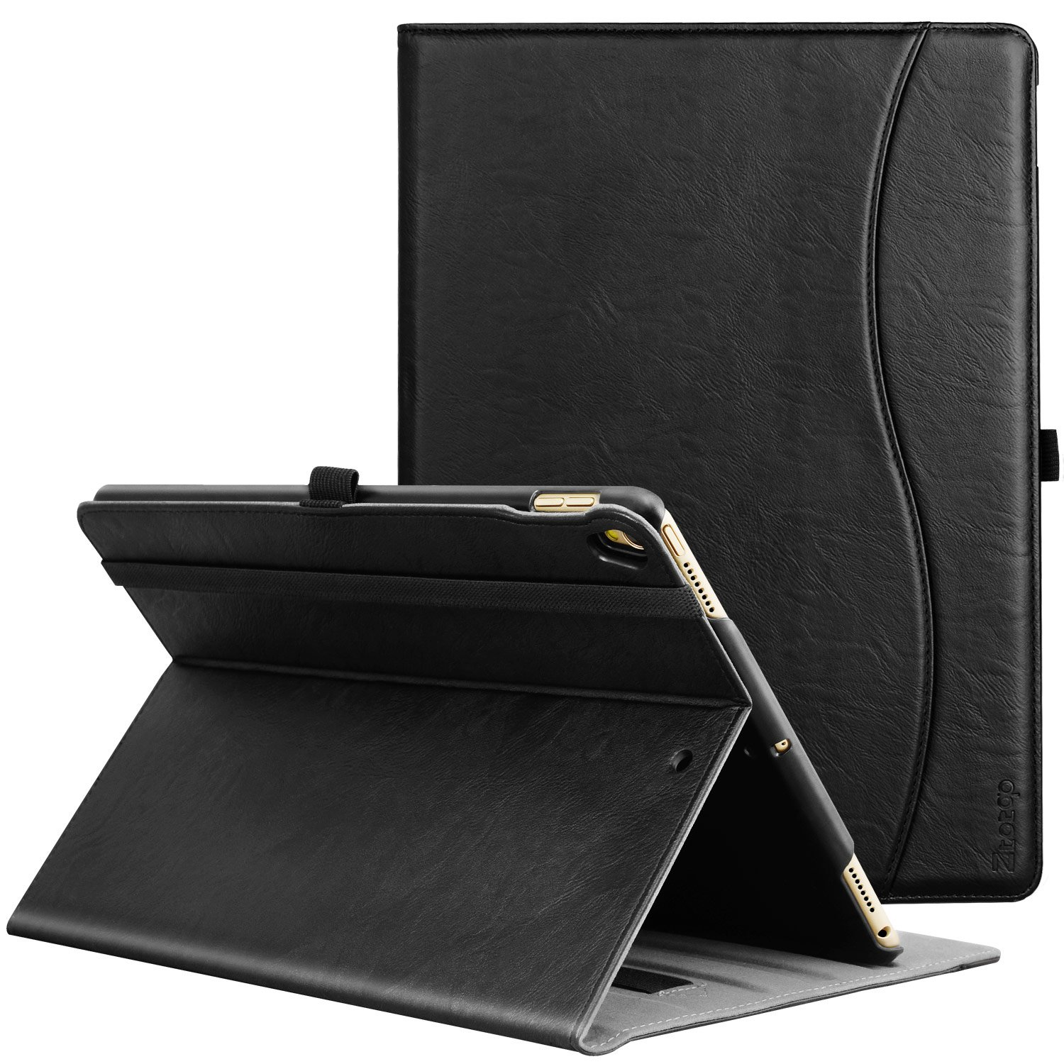 IPad Pro 10.5 Inch 2017 Case, Ztotop Premium Leather Business Slim Folding Stand Folio Cover for New Apple Tablet with Auto Wake / Sleep and Document Card Slots, Multiple Viewing Angles,all black