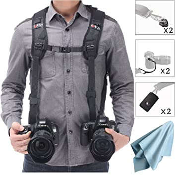81GAIVAgGSL._SY355_ amazon com camera shoulder double strap harness quick release dual camera harness at fashall.co