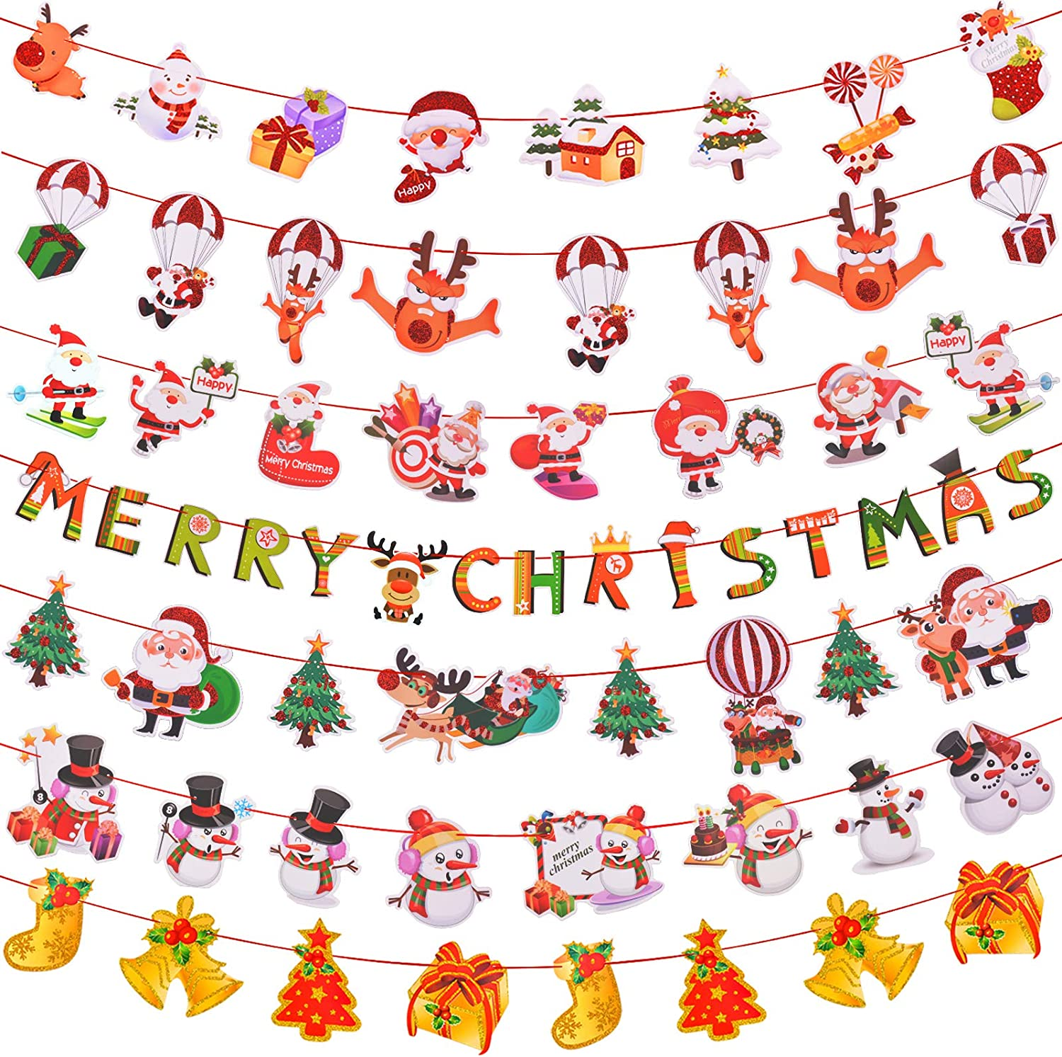Christmas Banners Decoration Set Merry Christmas Banner Flag Christmas Tree Elk Letter Christmas Stockings Hanging Party Flags Holiday Home Outdoor New Year Decor