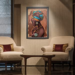 Canvas Wall Art Painting Wall Decor African American Oil PaintingsPoster Canvas Artwork Home Decoration Used for Bedroom Dressingroom Livingroom 12x16 Inches No Frame