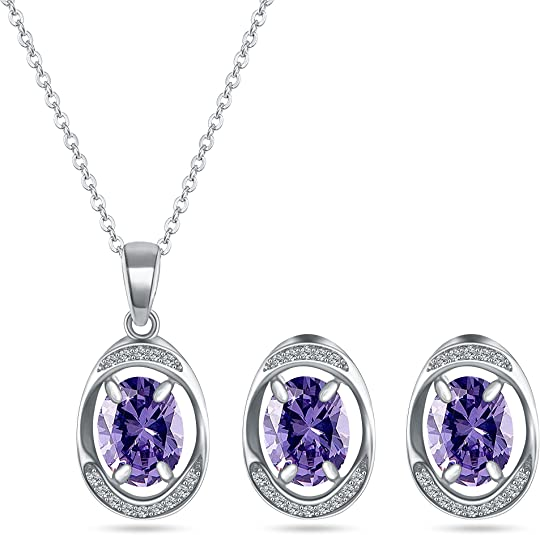 MYKEA Purple Jewelry Set - 14K White Gold Plated Oval Amethyst Crystal Halo Cubic Zirconia Necklace Set for Wedding Bridal Prom Party Everyday (Purple)