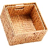 HOONEX Water Hyacinth Storage Baskets for Organizing, Decorative Wicker Baskets with Carrying Handles, Set of 2, Natural