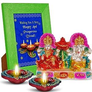 Wishing You A Very Happy and Prosperous Diwali 2 Diyas, Laxmi Ganesha & Quotation Photo Frame Hamper