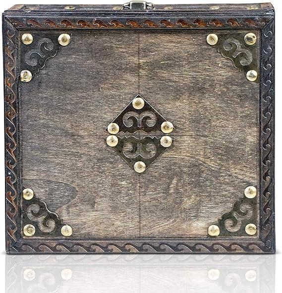Cassaforte in legno Brynnberg Scrigno del tesoro vintage Bauletto stile antico per accessori gioielli oggetti di valore Idea regalo decorativa