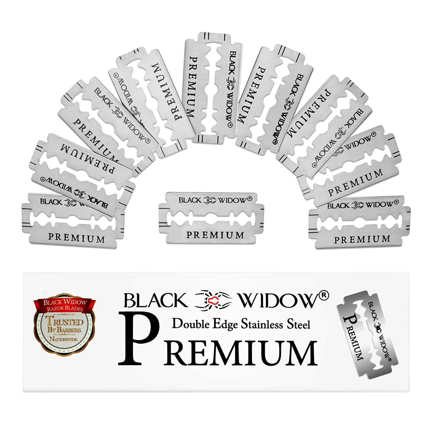 Black Widow Premium Double Edge Razor Blades - Swedish Steel Premium Razor Blades for Safety Razors and Straight Edge Razors - (100 Count)