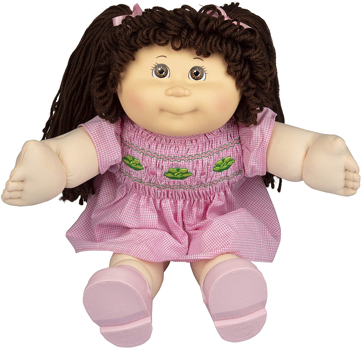 "Cabbage Patch Kids Vintage Retro Style Yarn Hair Doll - Original Brunette Hair/Brown Eyes, 16"" - Amazon Exclusive - Easy to Open Packaging"