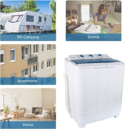 KUPPET Mini compacto portátil doble bañera lavadora lavadora Spin ...
