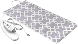 """Pure Enrichment PureRelief Express Designer Series Electric Heating Pad - Fast-Heating with 4 Heat Settings, Machine-Washable Fabric and 2-Hour Auto Safety Shut-Off - Gray Trellis (12"""" x 24"""")"""