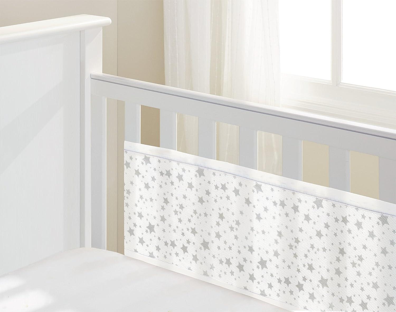 BreathableBaby en maille 2Côtés Liner pour berceau/lit pour bébé avec extrémités solide (Gris Twinkle étoiles)–Includes assortis Breathables Maille jouet