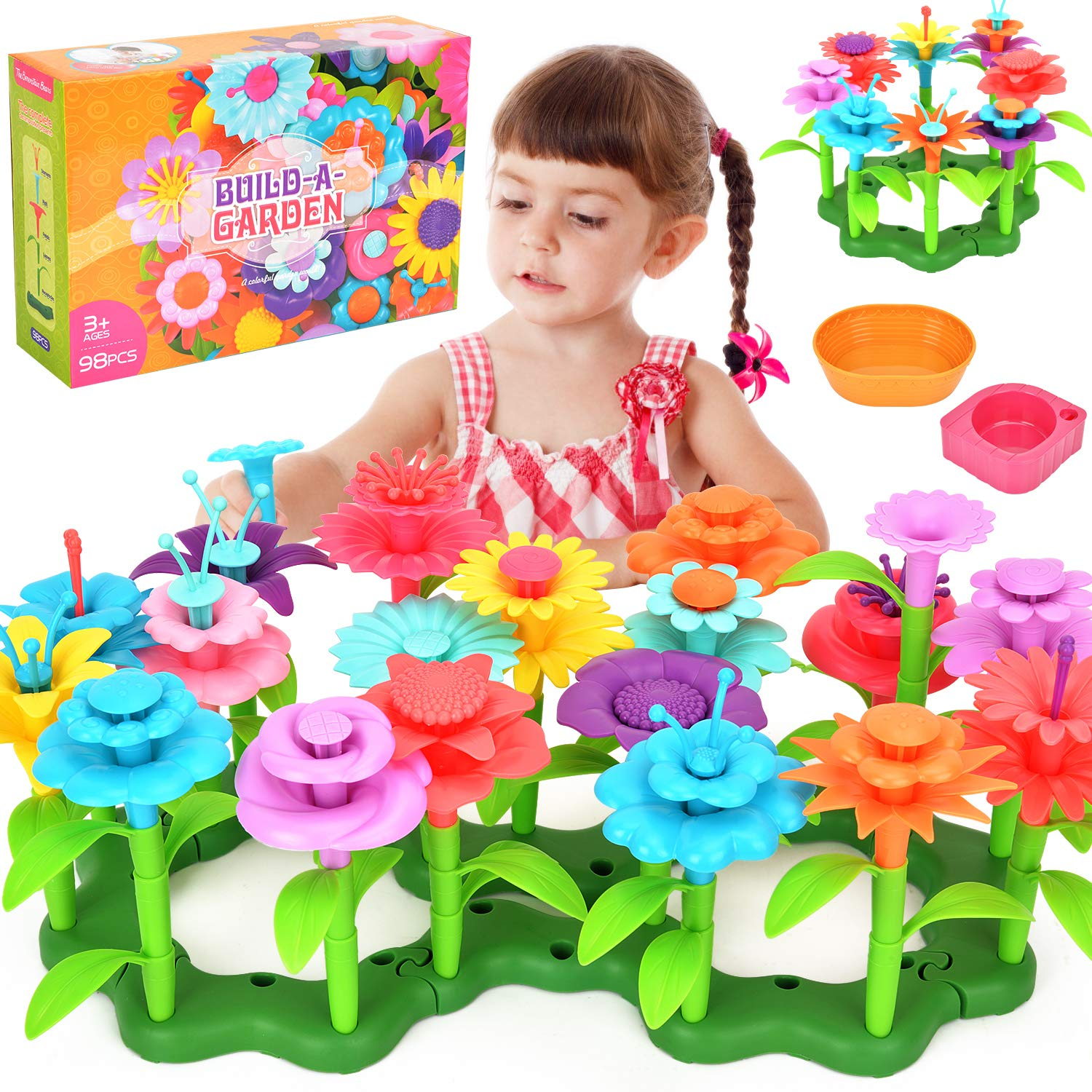 Victostar Flower Building Toy Garden Building Blocks Toy Set for Kids, 98 PCS Educational Toy Creative Playset for Age 4,5,6,7 Year Old Gifts