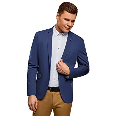 oodji Ultra Men's Slim-Fit Single-Button Blazer at Amazon Men's Clothing store
