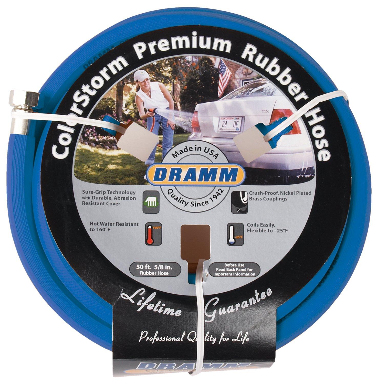 "Dramm 17005 ColorStorm Rubber Garden Hose, 5/8"" X50' Blue"