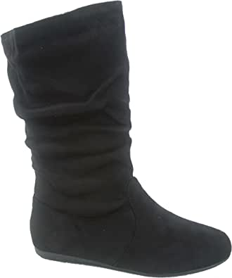 Forever Link Selena-23k Girl's Kid's Cute Causal Zipper Mid Calf Slouchy Flat Boot Shoes