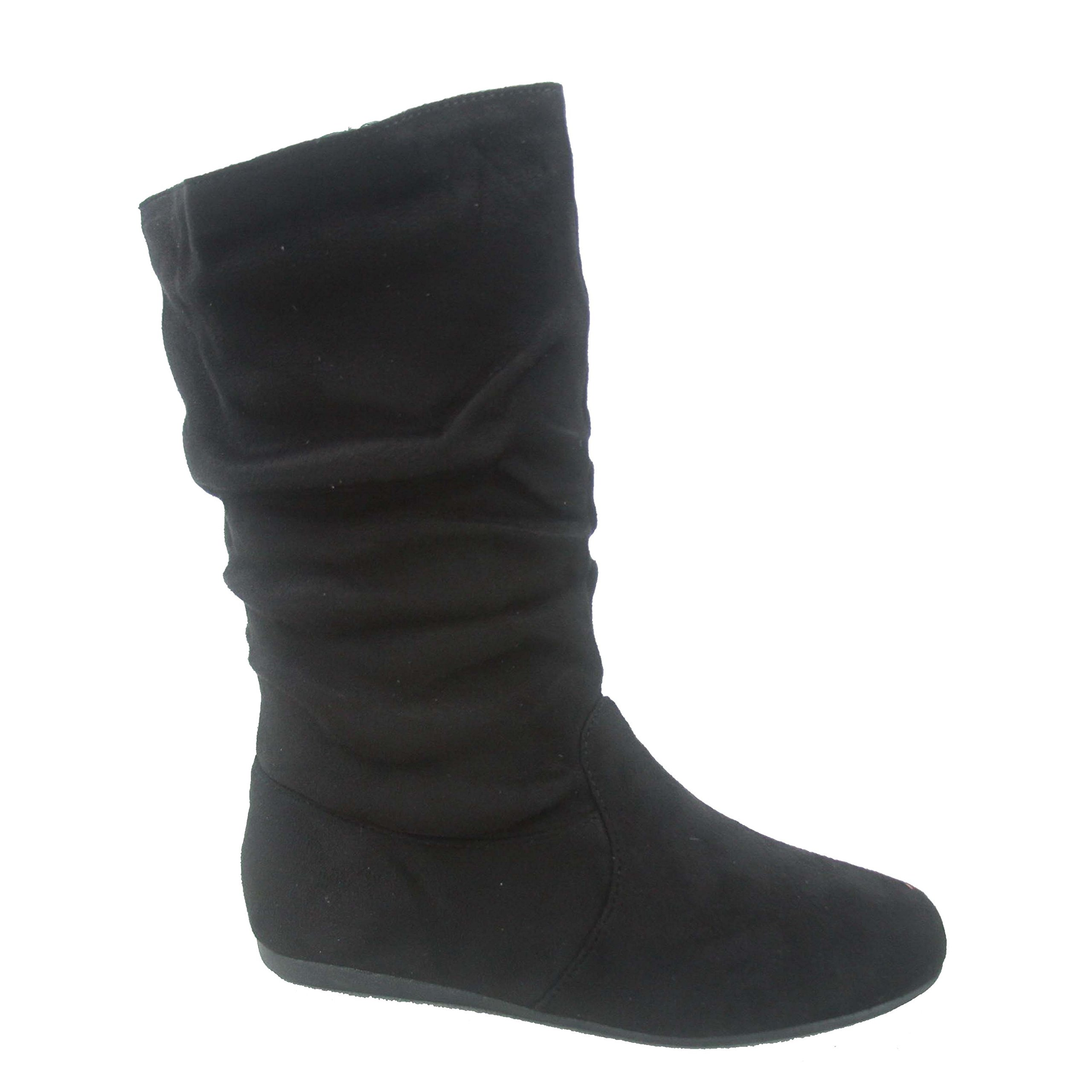 Forever Link Selena-23k Girl's Kid's Cute Causal Zipper Mid Calf Slouchy Flat Boot Shoes (13 B(M) US, Black)