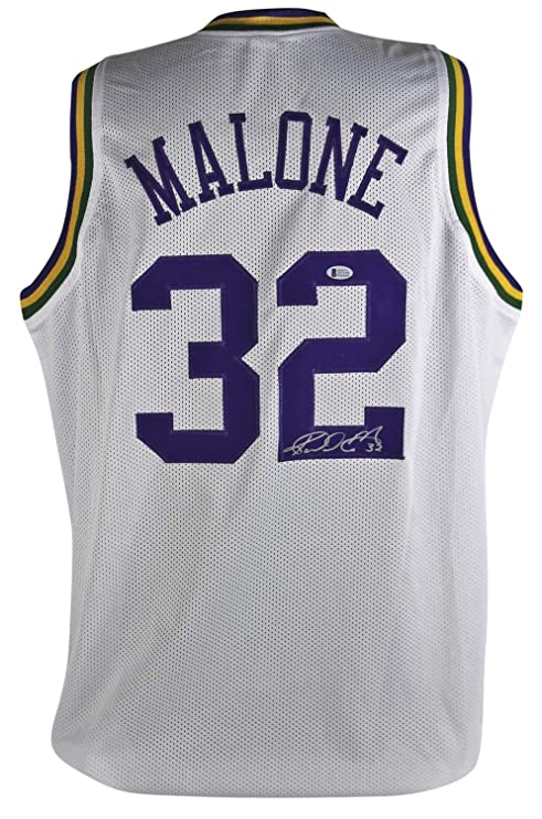 new style fb6e4 82699 Jazz Karl Mailman Malone Autographed Signed White Throwback ...
