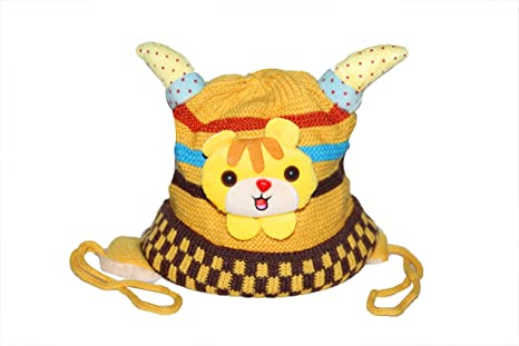 38d4c4edf89 Buy Vbirds Baby Boys Winter Hat Scarf Earflap Hood Scarves Skull Caps  (Yellow) - Horn Cap Online at Low Prices in India - Amazon.in