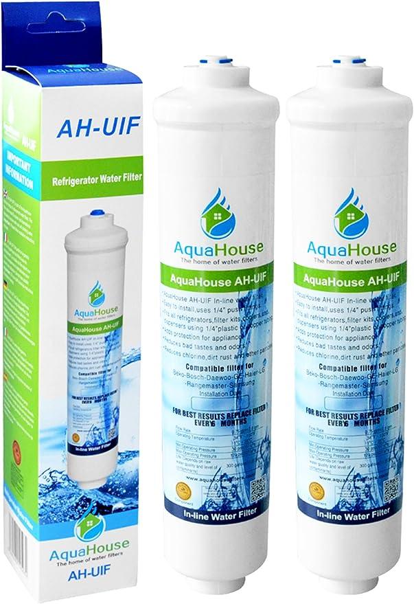 2x AquaHouse AH-UIF Filtro universal de agua para nevera compatible con Samsung LG Daewoo Rangemaster Beko Haier etc Nevera Congelador: Amazon.es: Hogar